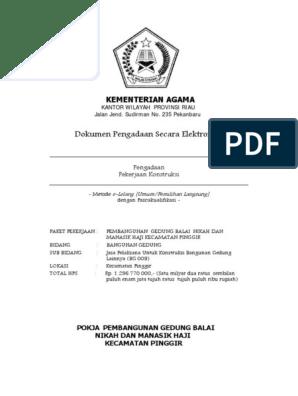 Dokumen E Lelang Kua Kecamatan Pinggir