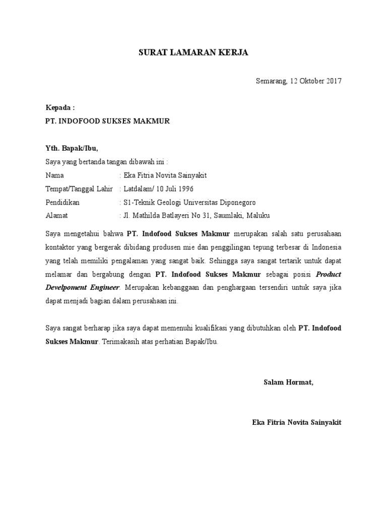 Surat lamaraneka fitria novita sainyakit pt indofood sukses makmur ccuart Gallery