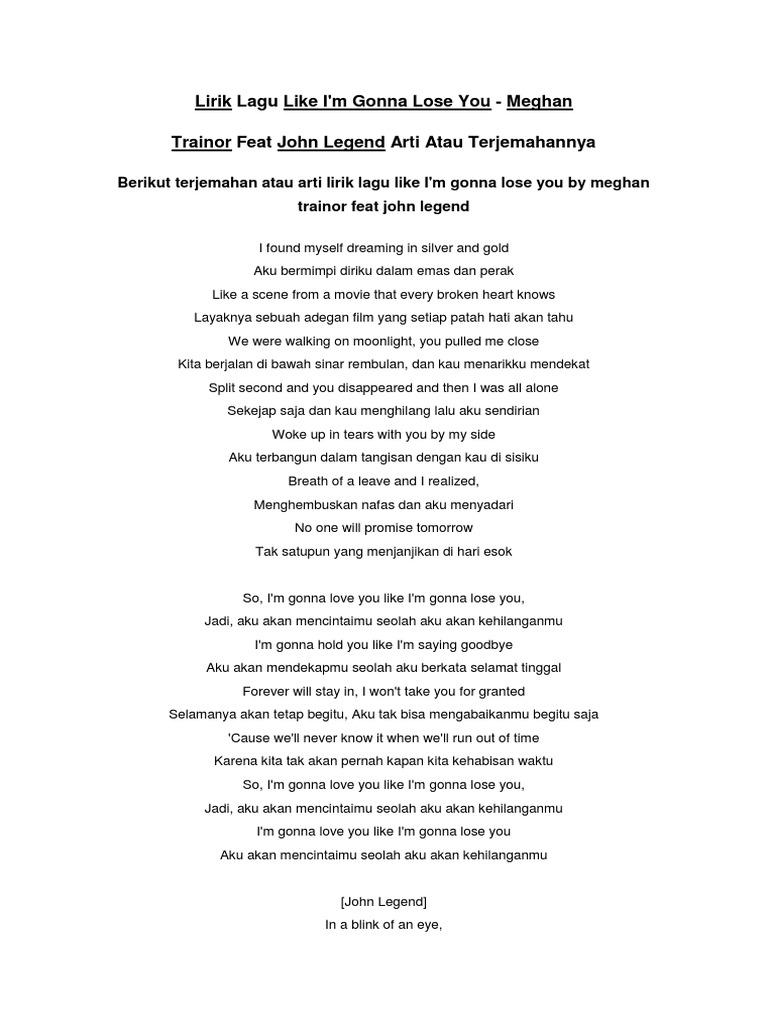 Teks Lagu Like I M Gonna Lose You - Terkait Teks