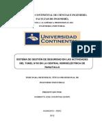 Proyecto de InvestigaciónSISTEMA DE GESTIÓN DE SEGURIDAD EN LAS ACTIVIDADES DEL TUNEL N°03 EN LA CENTRAL HIDROELÉCTRICA DE RUNATULLO