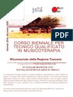Opuscolo Biennale  Corso di Musicoterapia 2018-20