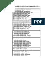 Lista Preferentes de Universidades e Institutos Que Financiadas Por El PEF