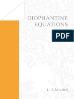 L.J. Mordell Diophantine Equations