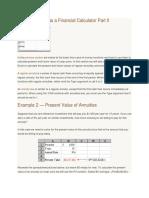 Microsoft Excel as a Financial Calculator Part II
