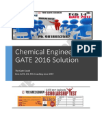 Gate 2016 Chemical Engineering Solution