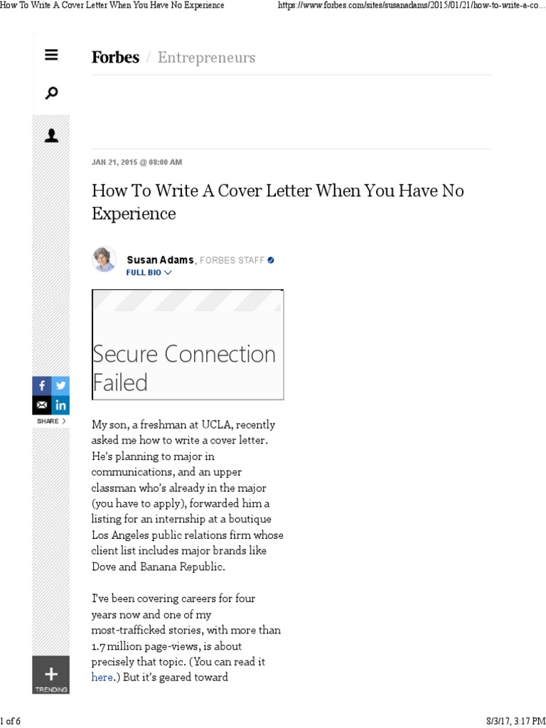 How to Write a Cover Letter When You Have No Experience ...