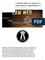 Lawweb.in-whether Lawyer Outside State Can Appear in Court Without Local Lawyers Appointment