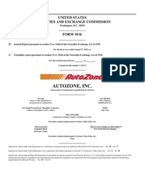Autozone Inc | Form 10 K | Aftermarket (Automotive)