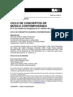 Ciclo de Conciertos de Música Contemporánea 2017