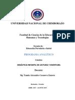 Programa Analitico Didáctica Infantil de Lectura y Escritura i - Copia