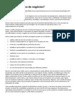 PN-Texto-05-O Que é Um Plano de Negócios
