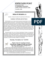 November 2001 Woodpecker Post Newsletter, Columbia Audubon Society