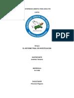 Tarea Ix de Metodologia El Informe Final de Investigación