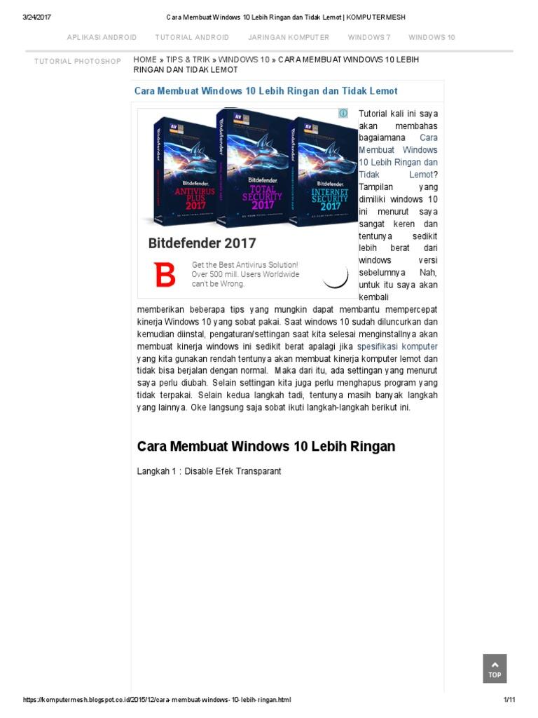 Cara Membuat Windows 10 Lebih Ringan Dan Tidak Lemot