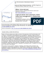 Legal Pluralism and Customary Water