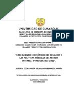 Crecimiento Economico Del Ecuador y Las Politicas Publicas Del Sector