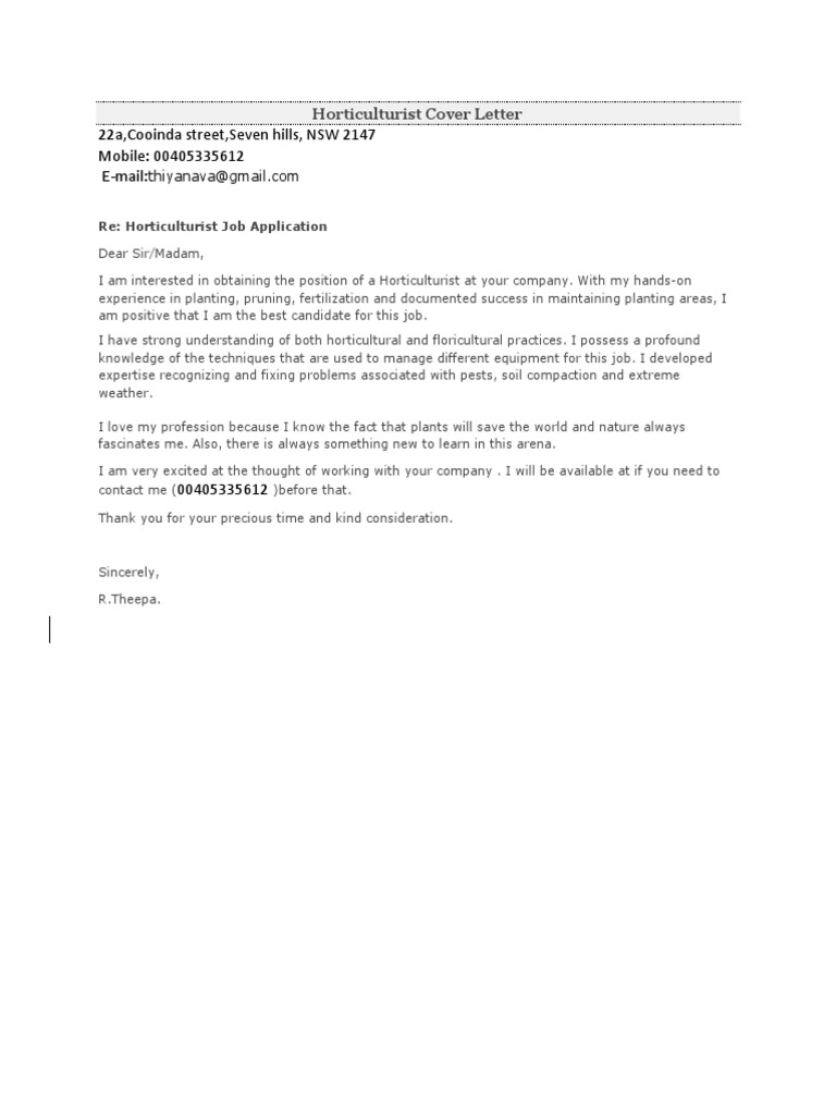 Horticulturist Cover Letter