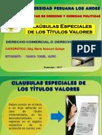 Clausulas Especiales de Los Títulos Valores