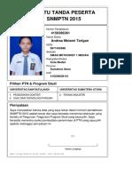 Kartu Pendaftaran SNMPTN 2015 4150396361