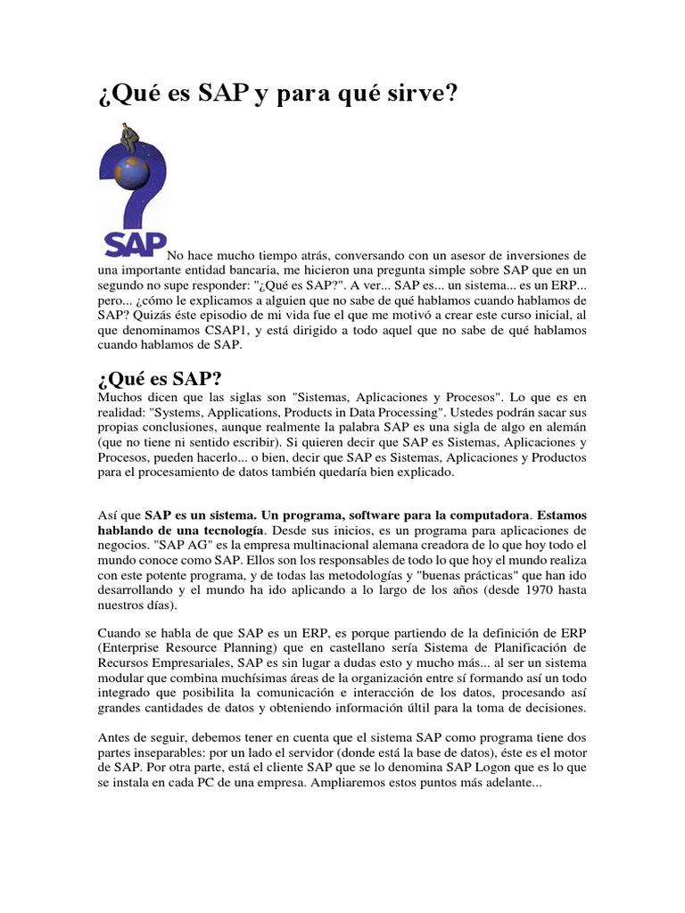 Qué Es SAP y Para Qué Sirve