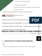 Specific Gravity of Fine and Corse Aggregates