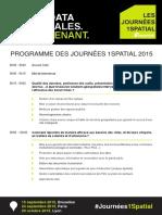 Programme Détaillé Journées 1Spatial 2015