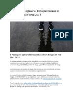 6 Pasos Para Aplicar El Enfoque Basado en Riesgos en ISO 9001