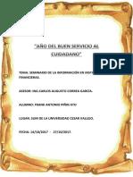 Informe Del Seminario de La Informacion en Entidades Financieras