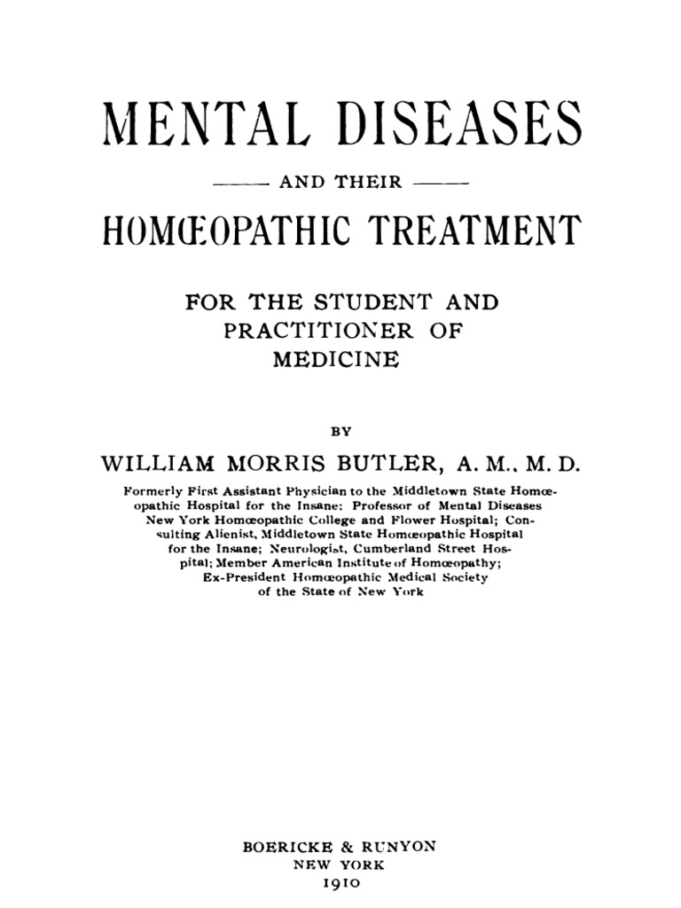 Mental Diseases and Their Homoeopathic Treatment