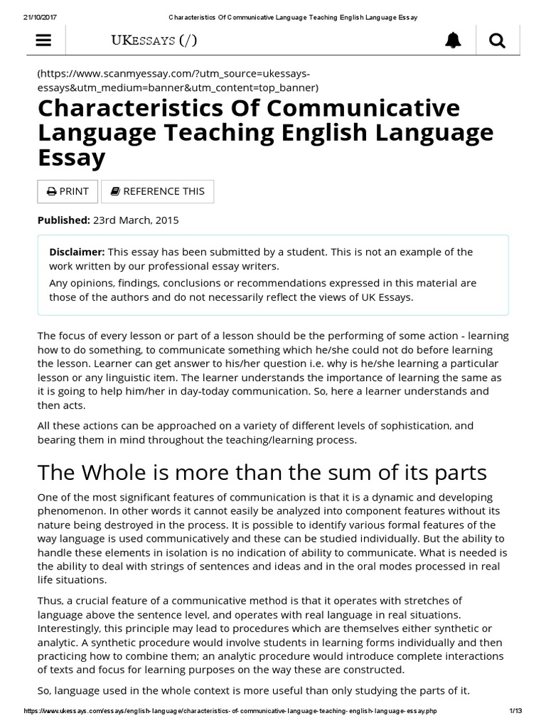 characteristics of communicative language teaching english language  characteristics of communicative language teaching english language essay   language education  second language