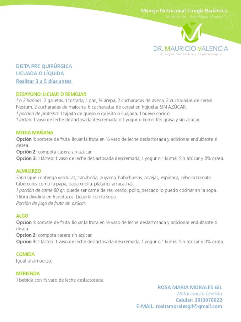 Dieta pre cirugia bariatrica