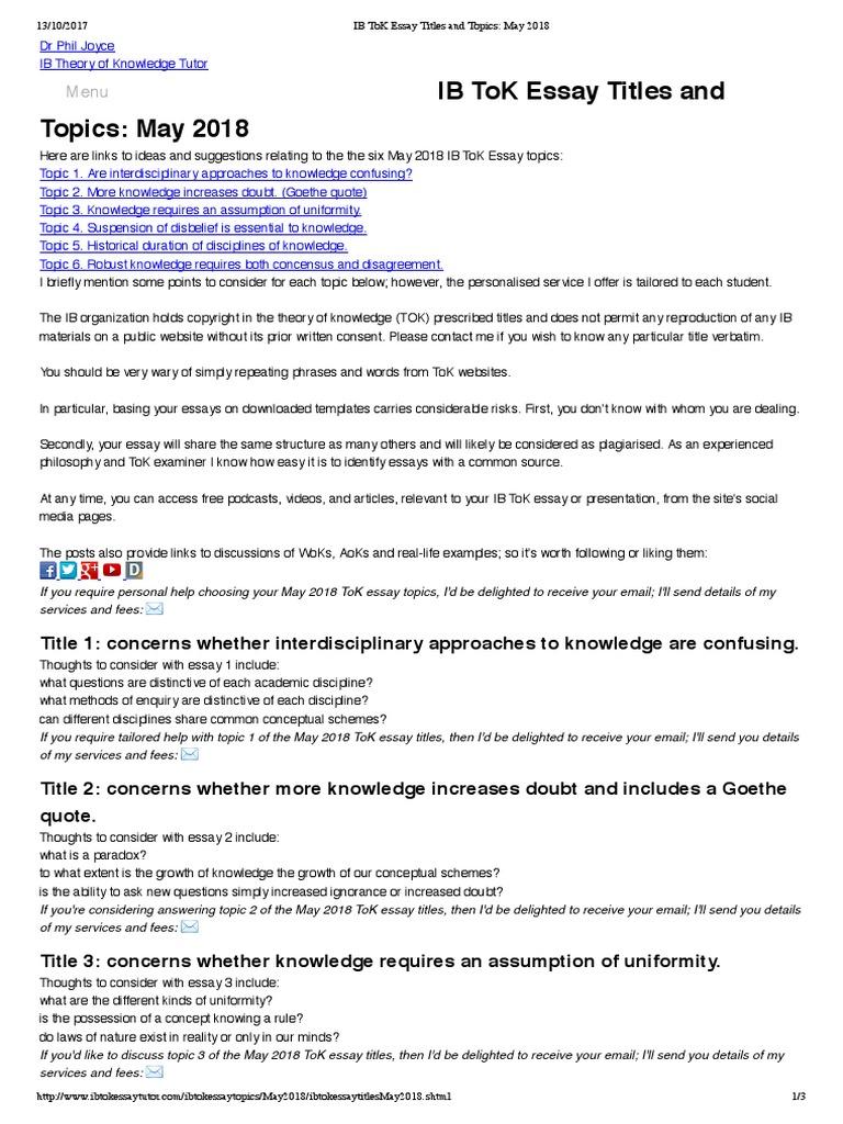 Ib tok essay titles and topics may 2018 interdisciplinarity