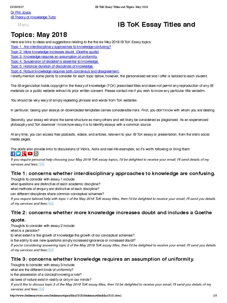 ib tok essay on perception How to write a tok essay the international baccalaureate (ib) theory of knowledge essay is a 1200–1600 word essay on prescribed topics or.