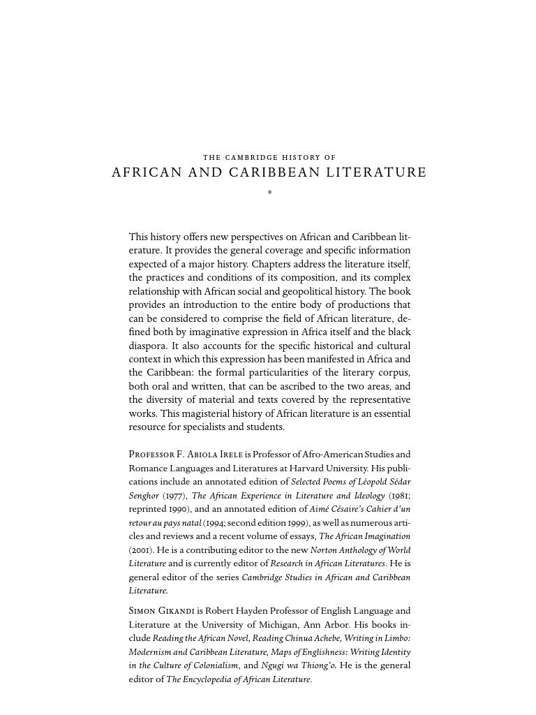 The cambridge history of african and caribbean literature the cambridge history of african and caribbean literature 0521594340 2004 oral tradition david livingstone fandeluxe Images