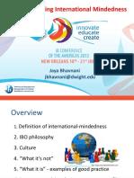 Jaya Bhavnani Enhancing International Mindedness