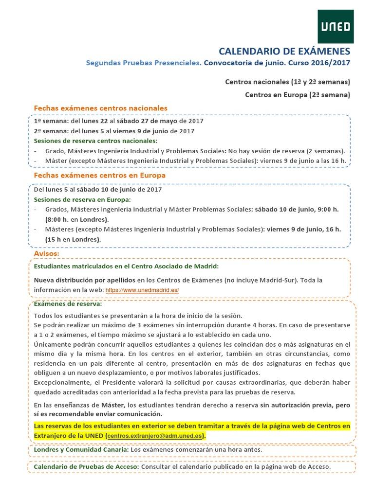 Uned Calendario Examenes.Calendario Examenes Junio