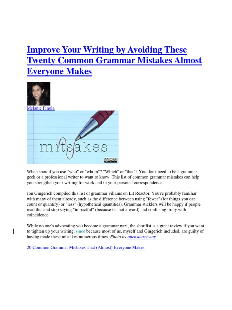 common grammar mistakes in writing