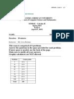 Spring 2015 - MTH 102 - Exam 2