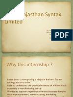 Internship at Shree Rajasthan Syntex