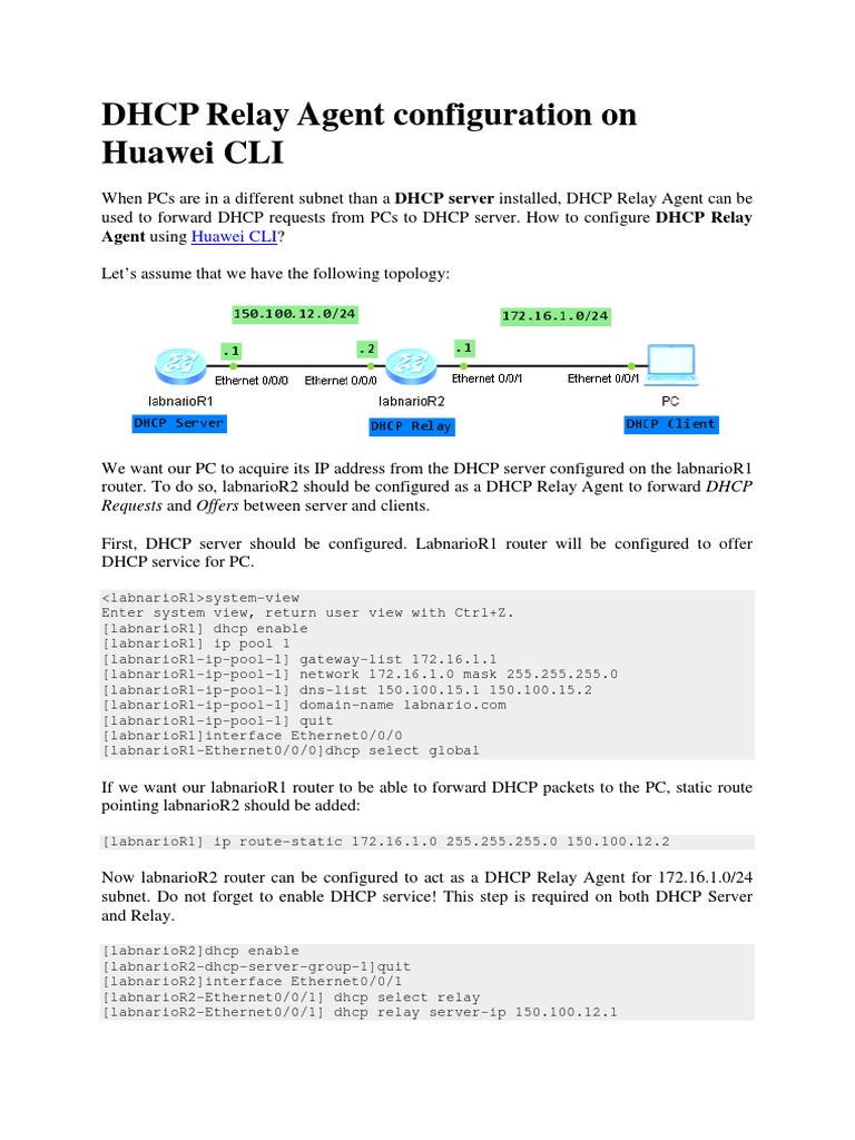 Dhcp Relay Agent Configuration on Huawei Cli | Ip Address