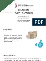 ensayo de laboratorio relacion agua - cemento