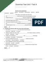 Vocabulary & Grammar Test Unit 1 Test A