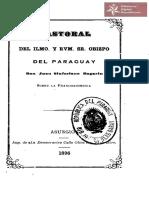 Pastoral del Ilmo. y Rvm. Sr. Obispo del Paraguay Don Juan Sinforiano Bogarin sobre la Francmasonería. Asunción 1896 - 1