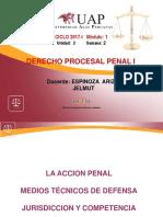 La Accion Penal, Medios Tecnicas de Defensa, Jurisdicción y Competencia