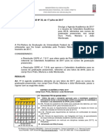 Calendário Acadêmico 2017 Retificado e Resumo 2018 3