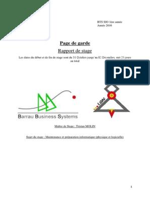Rapport De Stage 1 Informatique Sauvegarde Informatique