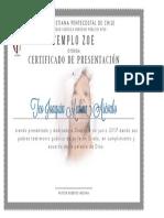 certificado de presentación