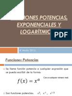 Funciones Potencias, Logarítmicas y Exponenciales