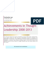Achievements in Thought Leadership S.iyer 2000-2013