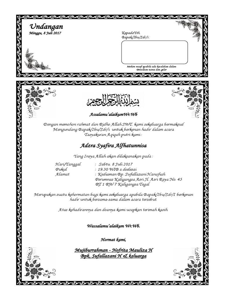 43+ Contoh surat undangan walimah aqiqah terbaru terbaru